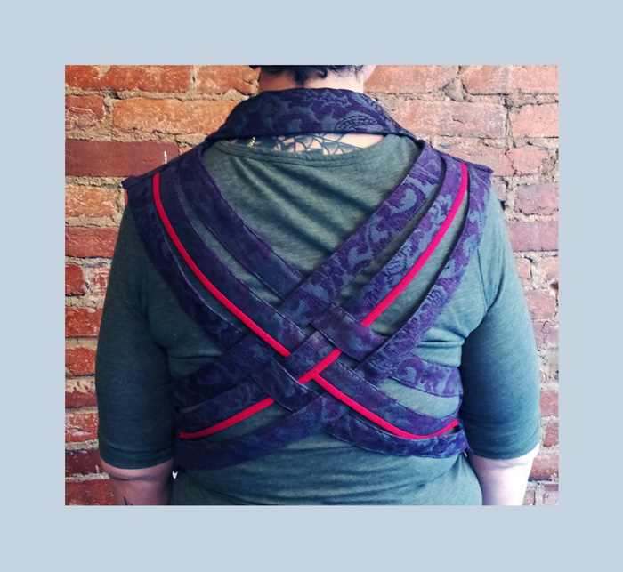 Old jacket from the closet revamped to sassy woven vest.