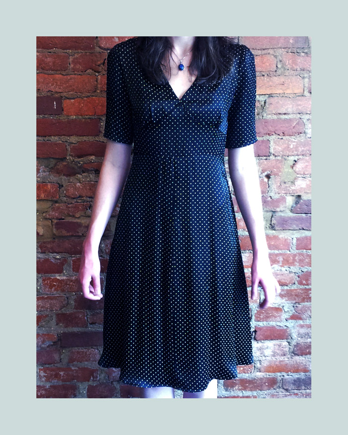 Consignment dress with bell sleeves, to classic, modern, polka dress to wear all the time!