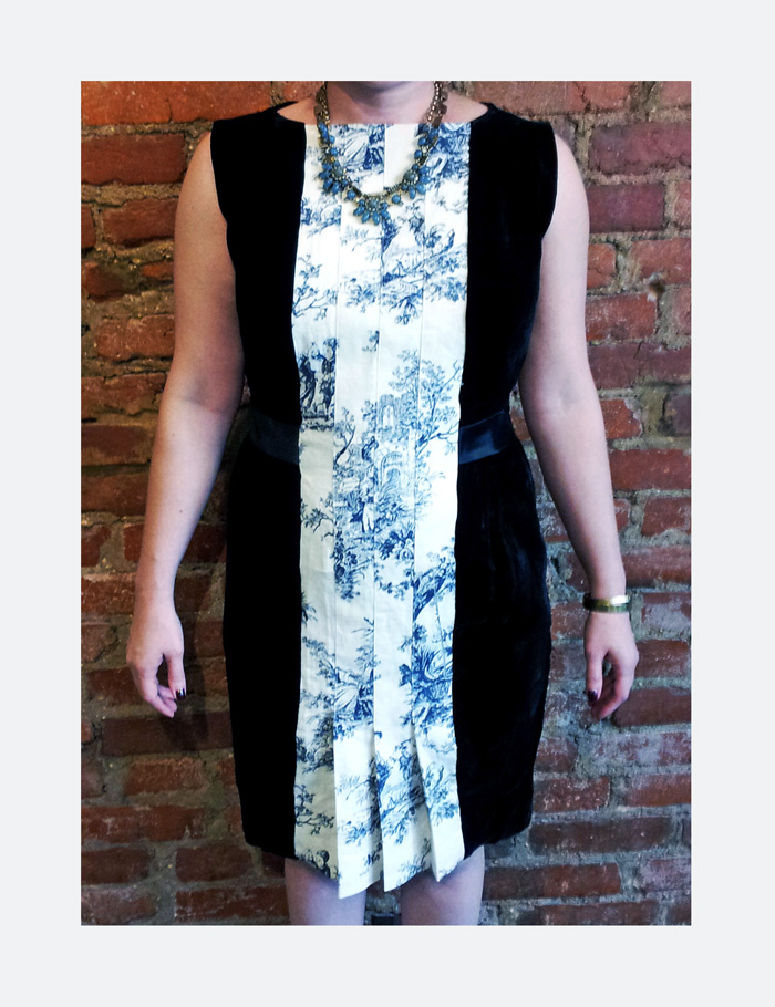 Vintage Dress too small? Just flip it backwards and add a kickass pleated panel. Bam!