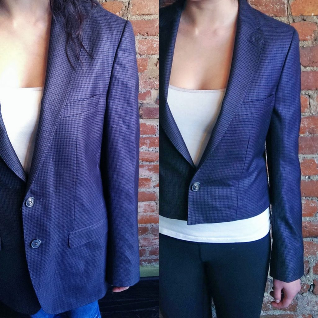 Blazer before and after close-up
