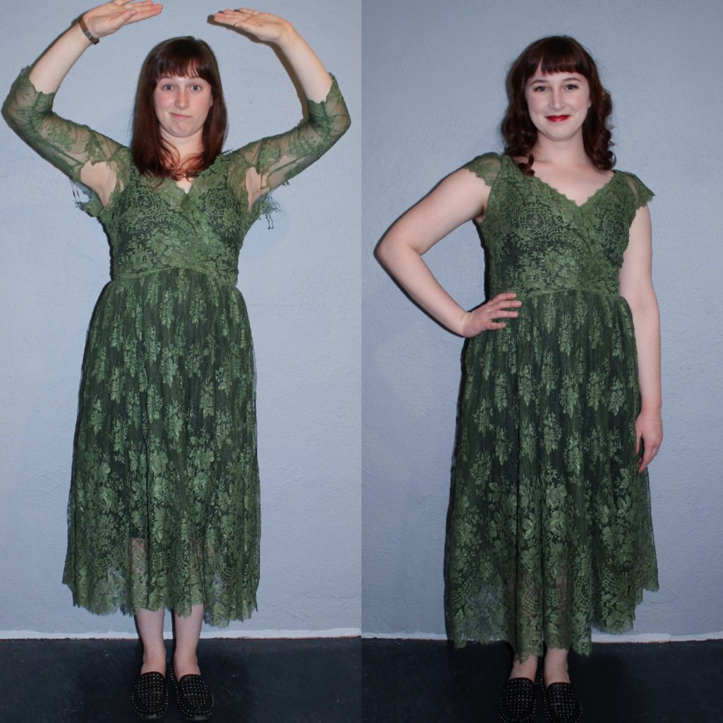 vintage Lace dress creative repair before and after